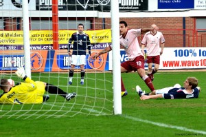 Damian scores Raith's equalizer from close in