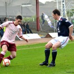 Jamie Walker shows Lockwood his skill on the ball