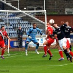 First half goalmouth action
