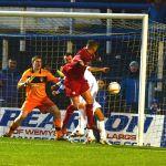Allan Walkers effort on goal