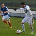 Cardle prepares to cross from just inside the box.
