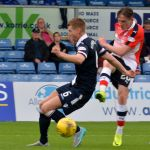 McManus sends the ball goalwards which was knocked home by the Ross County defender Erik Cikos.