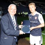 Man of the match BOBBY BARR receives his-award from Tom Morgan