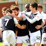 Raith players celebrate craig barrs goal - 