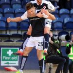 JONNY COURT SCORES HIS 1ST GOAL FOR RAITH - Celebrates with Danny Handling -  copyright - Fife Photo Agency