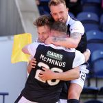JONNY COURT SCORES HIS 1ST GOAL FOR RAITH - celebrates with Danny Handling & Declan McManus - 