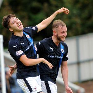 Dario celebrates a goal v Airdrie