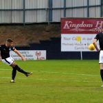Stark's Park - Kirkcaldy - Fife -  Raith v Queens Park -  LEWIS VAUHAN free kick inches over credit- Fife Photo Agency