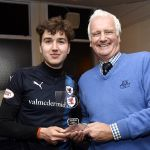 Raith v Forfar - Dario Zanatta receives man of the match award from J K Athletico credit- Fife Photo Agency