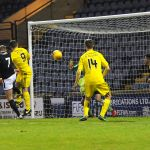 Raith v Ayr - 74 mins - SPENCE header cleared off the line by McDaid - 