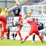 Raith v Queens Park -  Jason Thomson header from corner just past post -  credit- Fife Photo Agency