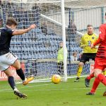 Raith v Queens Park - Zanatta shot turned round post by Queens keeper White - 