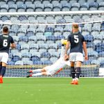 Raith v East Fife, 18th August 2018 -  Kieran Wright gets a hand to the EF penalty but can't stop the ball -  credit- Fife Photo Agency