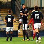 Raith v Aberdeen Colts -Goalscorer NAT WEDDERBURN celebrates with Nat Flanagan - credit- Fife Photo Agency