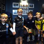 The mini match sponsors with their man of the match, Kevin Nisbet
