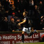 Raith v Dunfermline - LEWIS VAUGHAN celebrates scoring penalty credit- Fife Photo Agency