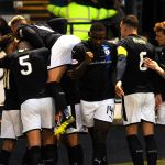 Raith v Dunfermline - LEWIS VAUGHAN mobbed after scoring penalty credit- Fife Photo Agency