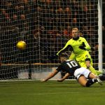Raith v Dunfermline - Diving  header  from  LEWIS VAUGHAN  makes it  2-0 -  credit- Fife Photo Agency