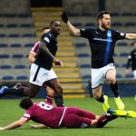 Stark's Park -  Raith v Arbroath - BUCHANAN FOULED - credit- Fife Photo Agency