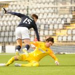Raith v Montrose -  Kevin Nisbet brought down in the box -  credit- Fife Photo Agency