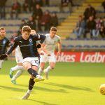 Raith v Montrose -  Kevin Nisbet slots home the penalty kick - credit- Fife Photo Agency