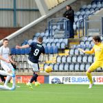 Raith v Montrose -  Liam Buchanan shot just wide - credit- Fife Photo Agency