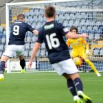 Raith v Montrose -  Liam Buchanan close range volley just wide -  credit- Fife Photo Agency
