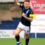 Raith v Montrose - Euan Murray celebrates scoring -  credit- Fife Photo Agency