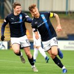 Raith v Montrose -  EUAN MURRAY heads off on his celebration run after scoring - credit- Fife Photo Agency