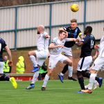 Raith v Montrose -  EUAN MURRAY wins another header in the Montrose box - credit- Fife Photo Agency