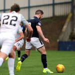Raith v Montrose -  Liam Buchanan tees up his shot and scores - credit- Fife Photo Agency