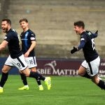 Raith v Montrose -  Liam Buchanan celebrates scoring Raith 3rd goal - credit- Fife Photo Agency