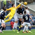 Raith v Montrose -  Fleming save denies Davidson - credit- Fife Photo Agency
