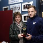 Raith v Dumbarton  - MotM Jamie Gullan receives his award from sponsors CARRS - credit- Fife Photo Agency