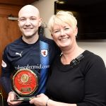 Raith v Airdrie - Match Sponsors New York Sandwich Company present MotM GRANT GILLESPIE with award - credit- Fife Photo Agency