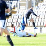 Raith v Airdrie - GRANT GILLESPIE hits the post in the first 2 mins - credit- Fife Photo Agency