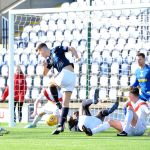 Raith v Airdrie - Dave McKay shot blocked on the line - credit- Fife Photo Agency