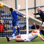 Grant Gillespie scores from close range v Airdrie