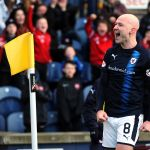 Raith v Airdrie - GRANT GILLESPIE CELEBRATES SCORING  credit- Fife Photo Agency