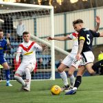 Raith v Airdrie - EUAN MURRAY shot blocked - credit- Fife Photo Agency