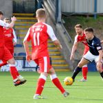 Raith v Dumbarton  - Ross Matthews surrounded by Dumbarton players - credit- Fife Photo Agency