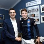Stark's Park - Kirkcaldy - Fife -  Raith v Brechin  - Man of the match sponsors THE NEEBURS with KEVIN NISBET - credit- Fife Photo Agency