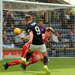 Stark's Park - Kirkcaldy - Fife -  Raith v Brechin  - Liam Buchanan shot just over - credit- Fife Photo Agency