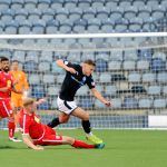 Stark's Park - Kirkcaldy - Fife -  Raith v Brechin  - Gullan fouled by Spark - credit- Fife Photo Agency