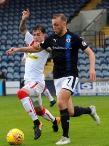 Kieran in action against the Rovers.