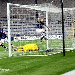 20 Out of shot Michael Miller scores Raith's first.
