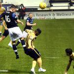 11 Dave tries a header at goal