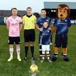 2 Mascot Logan Morrison with the Ref and Captains