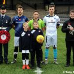 1 Mascots with the Ref and Captains on remembrance weekend