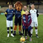 4 Mascot Isla Bowie with the ref and Captains